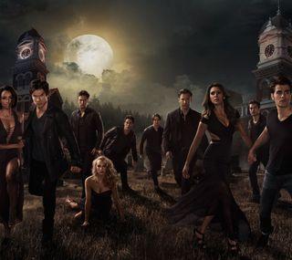 Обои на телефон вампиры, tvd, the vampire diaries, elena, damon, bonnie