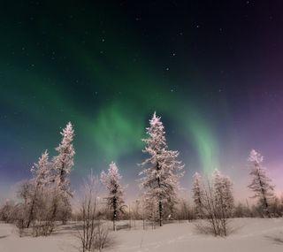 Обои на телефон аврора, пейзаж, ночь, зима, winter landscape
