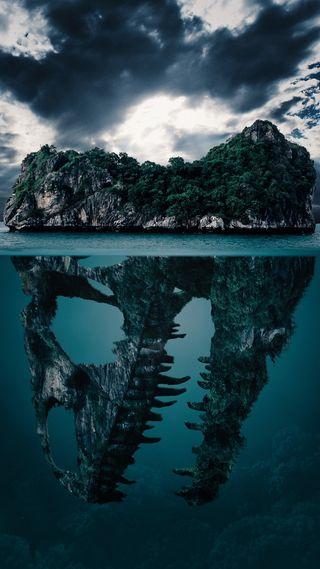 Обои на телефон формы, река, природа, остров