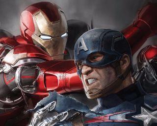 Обои на телефон капитан, супергерои, против, железный, война, америка, iron man vs captain, ca