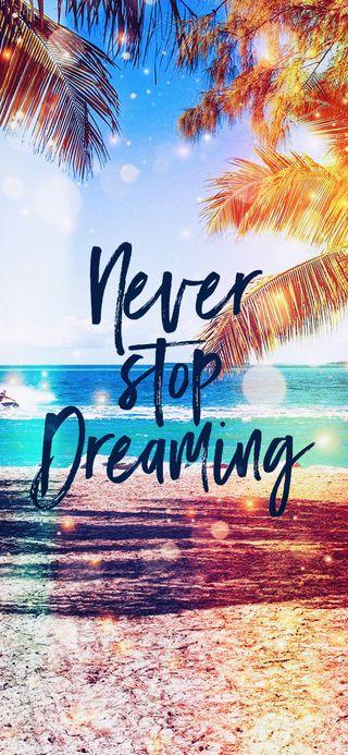 Обои на телефон never stop dreaming, цитата, море, пляж, океан, деревья, лето, никогда, пальмы, стоп