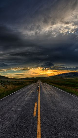 Обои на телефон холмы, вечер, природа, облака, небо, дорога, straight, asphalt