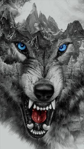 Обои на телефон фантазия, черные, зубы, злые, животные, горы, волк, белые, безумные