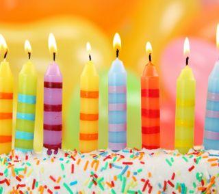 Обои на телефон торт, свеча, день рождения, красочные