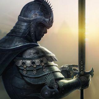 Обои на телефон черные, рыцарь, меч