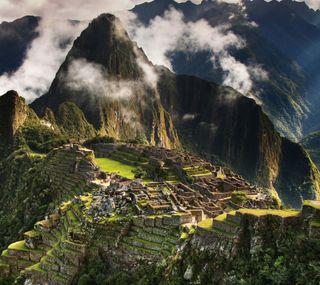 Обои на телефон холмы, перу, облака, горы, machu picchu