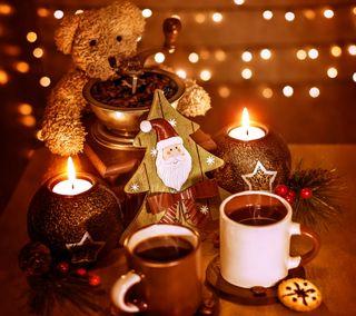 Обои на телефон тедди, сезон, свечи, декор, время, рождество, огни, кофе