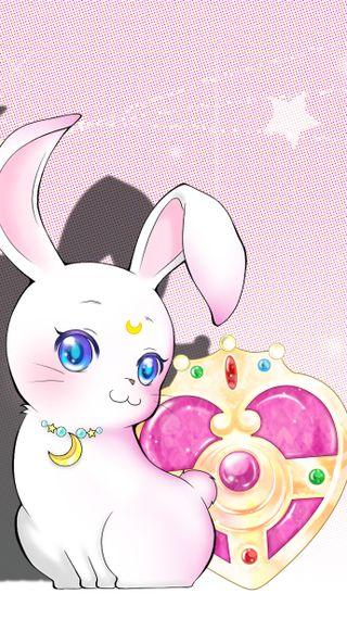 Обои на телефон кролик, луна, аниме