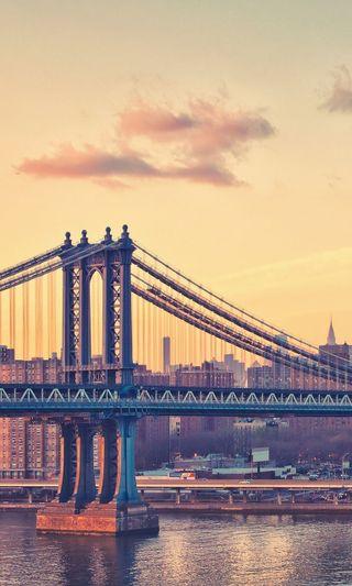Обои на телефон архитектура, прекрасные, пейзаж, озеро, небо, мост, мир, манхэттен, город, manhattan bridge