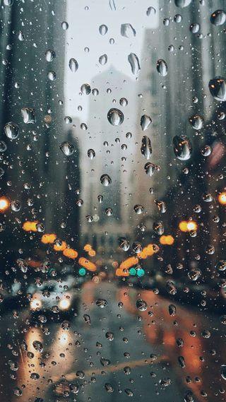 Обои на телефон макро, улица, мокрые, капли дождя, капли, дождь, день, город