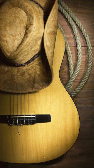 Обои на телефон шляпа, страна, музыка, инструмент, гитара