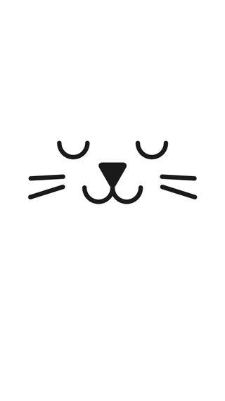 Обои на телефон чистые, фан, минимализм, счастливые, рисунки, простые, милые, лицо, линии, кошки, котята, белые, quite white cat, happy