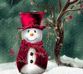 Обои на телефон снеговик, счастливое, рождество