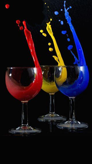 Обои на телефон очки, чашка, цветные, стекло, синие, рисунки, красые, желтые, cups, cup