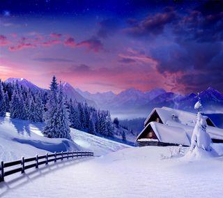 Обои на телефон лед, снег, сезон, зима, домик, дом