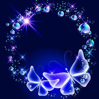 Обои на телефон сияние, цветные, синие, неоновые, бабочки, абстрактные