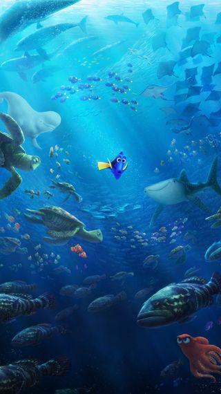 Обои на телефон глубокие, синие, рыба, немо, море, дори, дисней, вода, арт, swim, finding dory, disney, art