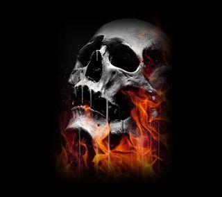 Обои на телефон огонь, череп, темные