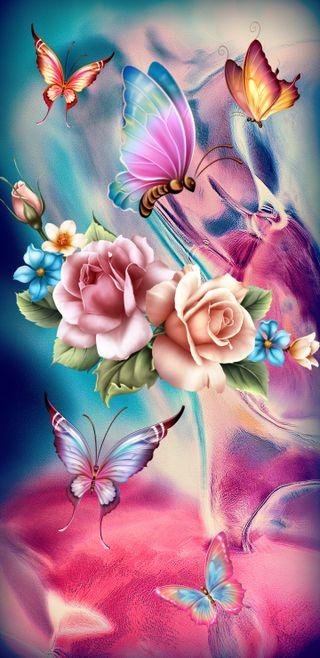 Обои на телефон шелк, принцесса, цветы, цветочные, розы, рисунки, корона, картина, дизайн, белые, бабочки, floral paint