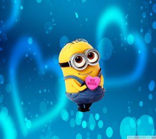 Обои на телефон be mine, love, be mine minion, любовь, синие, милые, розовые, сердце, миньоны, валентинка, будь, мой