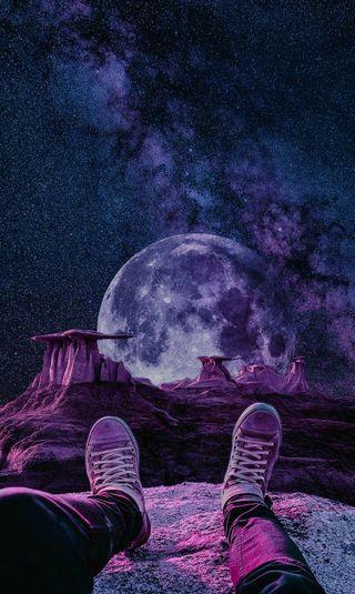 Обои на телефон туманность, фиолетовые, космос, галактика, вид, galaxy