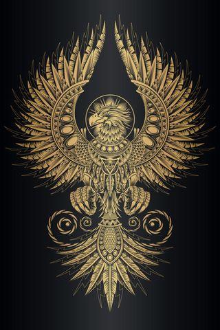 Обои на телефон птицы, черные, феникс, тату, племенные, орел, легендарный, золотые, legendary phoenix