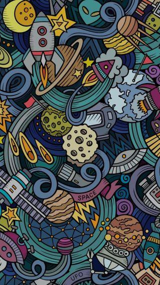 Обои на телефон рисунок, луна, космос, арт, simbolo, paz, pared, art