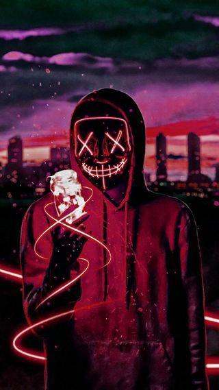 Обои на телефон свет, новый, неоновые, маска, анонимус, neon mask, luz, anonimo, 2019