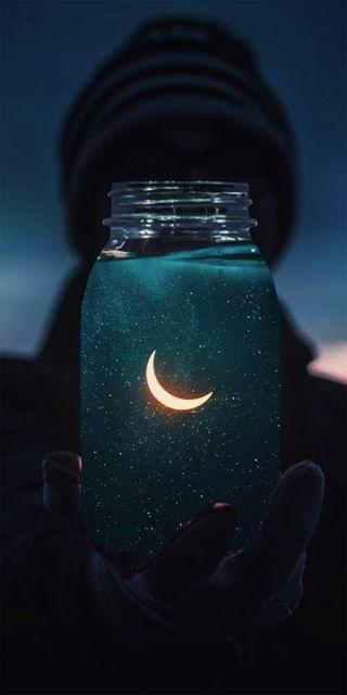 Обои на телефон ночь, космос, неоновые, луна, звезды, reflejo, frasco, fondos neones, fondo neon, estrellas neones