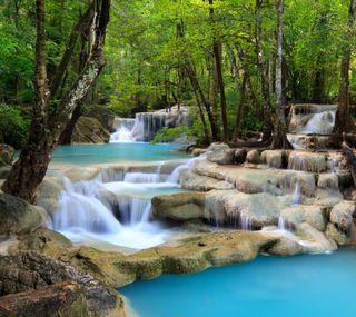 Обои на телефон водопад, лес