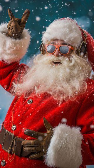 Обои на телефон наушники, санта, рок, праздник, музыка, rocking santa, eyeglasses