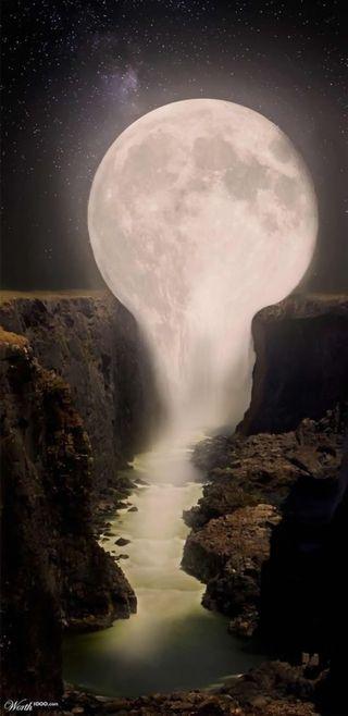 Обои на телефон ночь, луна, водопад, note 8