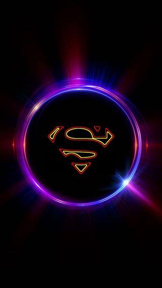 Обои на телефон супермен, огни, неоновые, логотипы