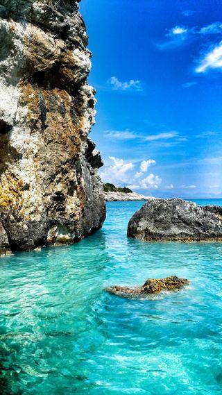 Обои на телефон рай, пляж, пейзаж, океан, море, волны, блестящие, windows, creta paradise