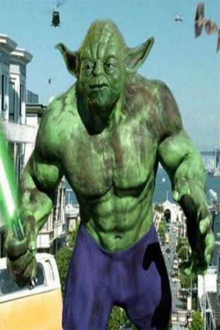Обои на телефон мем, халк, йода, забавные, yoda hulk