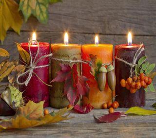Обои на телефон свечи, осень, взгляд, приятные, autumn candles