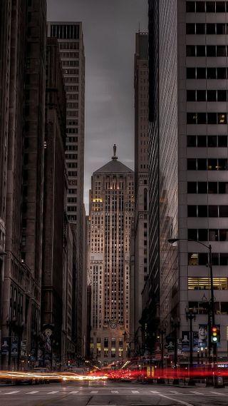 Обои на телефон чикаго, улица, трафик, темные, ночь, машины, город, city night street