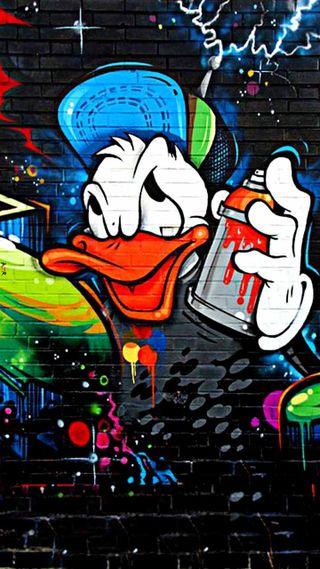 Обои на телефон утка, граффити, мультфильмы, забавные, дональд, graffiti donald, donald duck