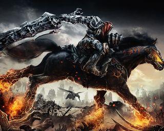 Обои на телефон лошадь, огонь, игра, враг, война, воин, darksiders