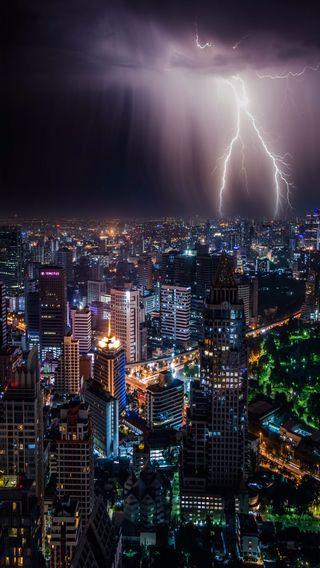 Обои на телефон яркие, молния, жизнь, город, thailand city, downtown, city life