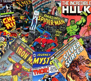 Обои на телефон халк, тор, веном, паук, обложка, марвел, крутые, компьютерщик, комиксы, классика, spider man, marvel, classic marvel cover