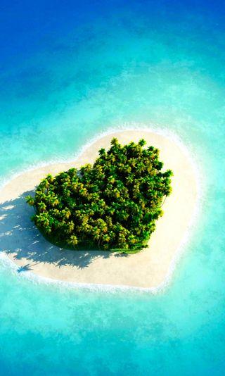 Обои на телефон остров, сердце, природа, абстрактные