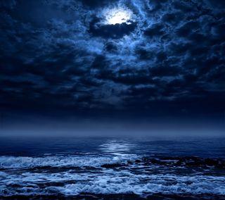 Обои на телефон штормовой, волны, море, луна
