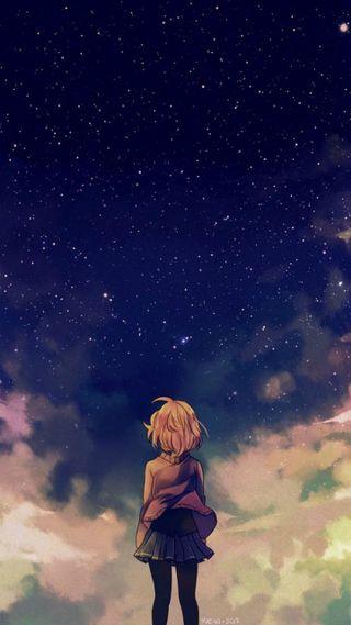 Обои на телефон небо, девушки, аниме