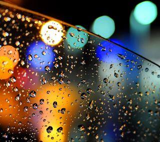 Обои на телефон боке, стекло, огни, капли, дождь