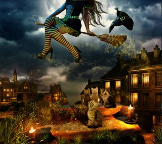 Обои на телефон хэллоуин, счастливые, свеча, кошки, ведьма, 2160x1920px, broom