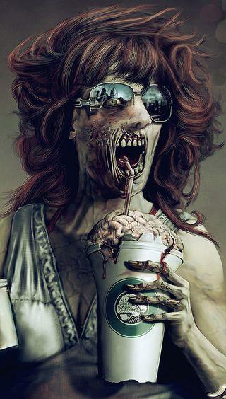 Обои на телефон мозг, зомби, zombie brain