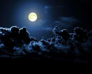 Обои на телефон темные, небо, ночь, луна, облака, облачно