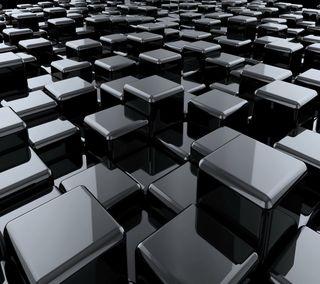 Обои на телефон кубы, черные, блоки, 3д, 3d
