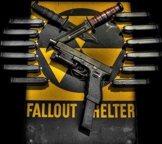 Обои на телефон фоллаут, пистолет, опасные, рука, оружие, нож, знаки, глок, арт, fallout shelter, defense, art